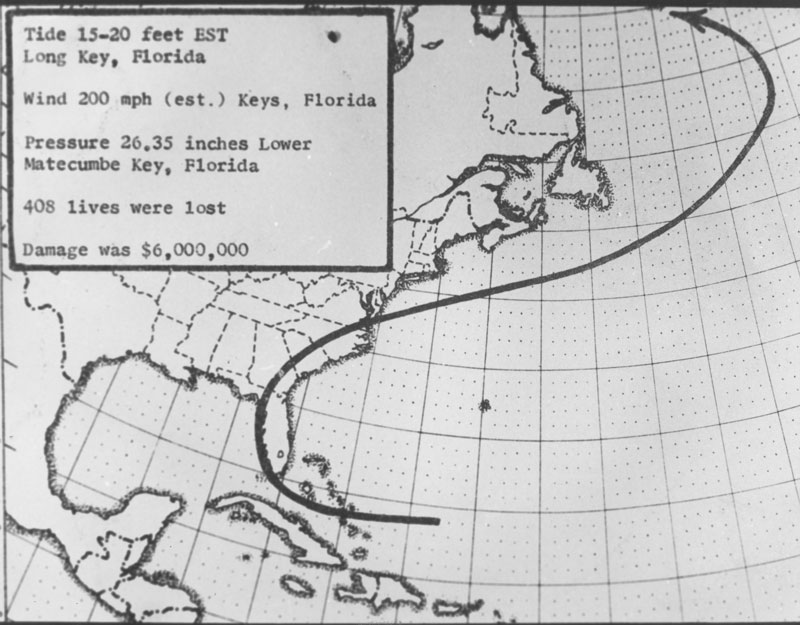 Track of Labor Day Hurricane