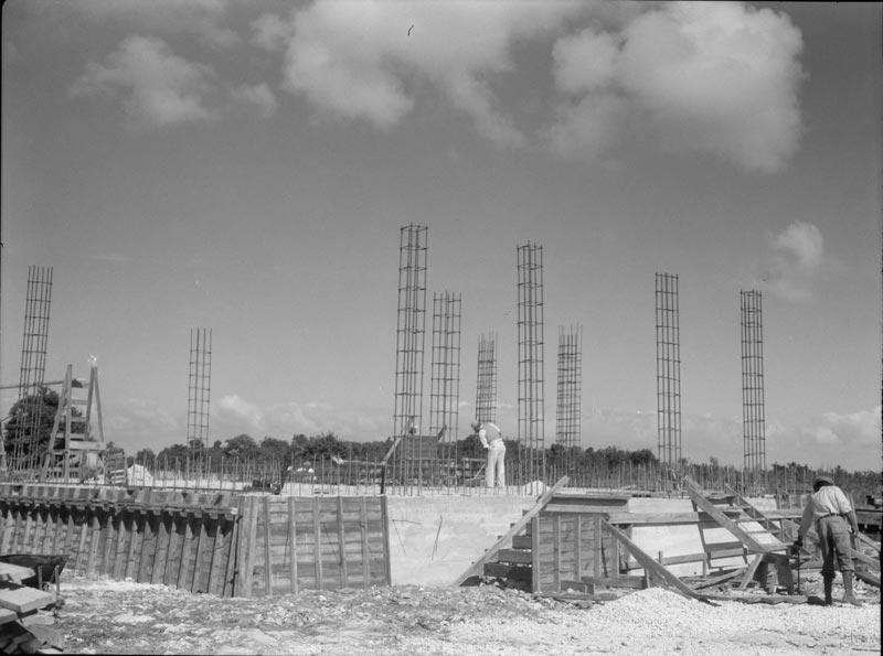 Like the Red Cross houses, the new Matecumbe School, today the Islamorada Library building, was also built on a raised foundation with reinforced concrete walls (Image Credit: Arthur Rothstein Collection)